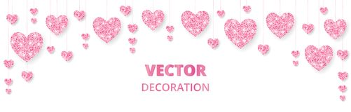 Pink hearts frame, border. Vector glitter isolated on white. For decoration of Valentine and Mothers day cards, wedding. Pink hearts frame, border. Vector Stock Image