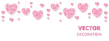 Pink hearts frame, border. Vector glitter isolated on white. For decoration of Valentine and Mothers day cards, wedding. Pink hearts frame, border. Vector Stock Images