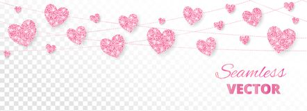 Pink hearts frame, seamless border. Vector glitter isolated on white Stock Image