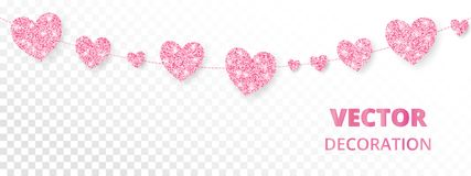 Pink hearts frame, seamless border. Vector glitter isolated on white Stock Photos