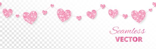 Pink hearts frame, seamless border. Vector glitter  on white Royalty Free Stock Images