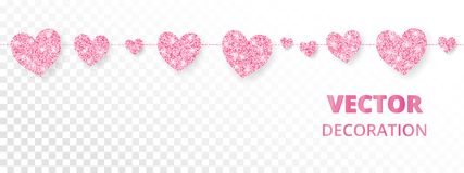 Pink hearts frame, seamless border. Vector glitter  on white Royalty Free Stock Photos