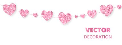 Pink hearts frame, seamless border. Vector glitter isolated on white. For decoration of Valentine and Mothers day cards. Pink hearts garland, seamless border Royalty Free Stock Photos