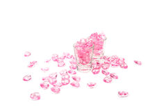 pink hearts glass on white background royalty free stock images