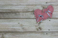 Pink hearts hanging on rope Stock Photos