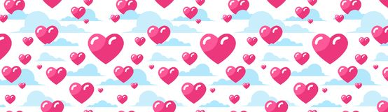 Pink Hearts Horizontal Background Decoration For Valentines Day Holiday Poster Or Web Banner Design. Vector Illustration Royalty Free Stock Images