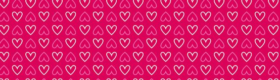 Pink Hearts Horizontal Banner Decoration For Valentines Day Holiday Poster Or Web Banner Background. Vector Illustration Royalty Free Stock Photography