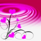 Pink hearts illustration. With ripples Royalty Free Stock Images
