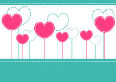 Pink hearts invitation card Stock Images