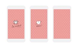 Pink hearts iphone wallpaper and lock screen Stock Photo
