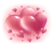 Pink hearts, isolated Stock Photos