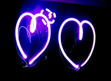 Pink Hearts Light Art Stock Photo