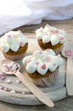 Pink Hearts Muffins Stock Photography