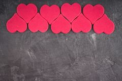 Pink Hearts On A Gray Background. The Symbol Of The Day Of Lovers. Valentine S Day. Concept February 14. Stock Photography
