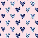 Pink hearts pattern. Seamless polka dot pink hearts pattern. Hearts of small mosaic faceted triangles Royalty Free Stock Photos