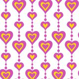 Pink hearts and pearls vector seamless pattern Royalty Free Stock Images