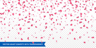 Pink hearts petals falling vector Valentine background Stock Images
