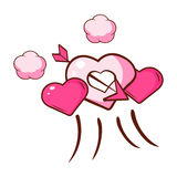 Pink hearts pierced by an arrow and small pink clouds. Colorful cartoon illustration Stock Photography