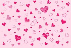 Pink hearts on a pink background to valentine day. Various interpretations of pink hearts on a pink background to valentine day. isolated vector image royalty free illustration