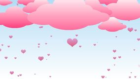 Pink hearts rain stock footage