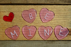 Pink Hearts that say Be Mine for Valentines Day Stock Photography