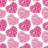 Pink hearts seamless pattern Stock Image