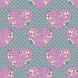 Pink hearts. Seamless pattern with floral pink hearts Royalty Free Stock Images