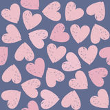 Pink hearts seamless pattern on Valentines day. Seamless pattern with pink hearts. Decorative background can be used for wallpapers, surface textures, textile Vector Illustration