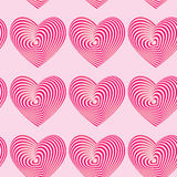 Pink hearts seamless patterns. Optical illusion 3d three-dimensional Stock Photos