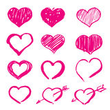 Pink  hearts set icons Stock Photos