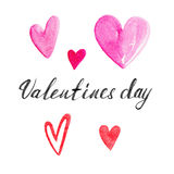 The pink hearts set with lettering `Valentines day` isolated on white background, watercolor illustration. In hand-drawn style Stock Illustration