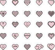 Pink hearts. A set of pink line art style vector icons of hearts with different styles and designs Royalty Free Stock Photography