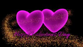 Pink hearts with sparkle glitter and text Royalty Free Stock Photos