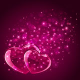 Pink hearts on starry background Royalty Free Stock Images