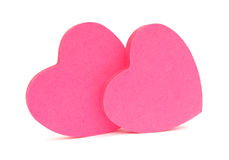 Pink hearts sticky notes Stock Photo