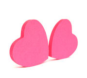 Pink hearts sticky notes Stock Image