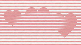 Pink hearts on stripped pink background, appearing and disappearing, optical illusion, love symbols for Valentine day or stock footage