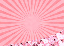 Pink hearts and sun rays background Stock Image