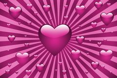 Pink hearts sunburst Stock Photography