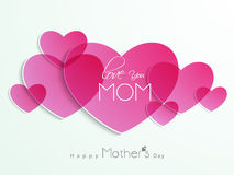 Pink hearts with text for Happy Mother's Day celebration. Royalty Free Stock Image