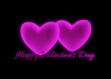 Pink hearts and text Happy Valentine's Day Royalty Free Stock Images