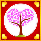 Pink hearts tree card Stock Photography