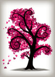 Valentines Day Pink Hearts Tree. Lots of little hearts as leaves on a curly, stylised tree Royalty Free Stock Photos
