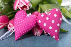 Pink hearts with tulips Royalty Free Stock Photography
