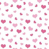 Pink hearts Valentine`s Day pattern seamless.  Royalty Free Stock Photo