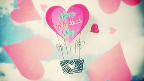 Pink hearts with valentines message. Digital animation of Pink hearts with valentines message stock video footage