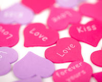 Pink hearts on the white background. Royalty Free Stock Images