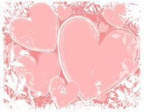 Pink Hearts White Grunge Background Stock Image