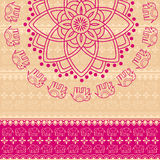 Pink henna elephant mandala background Royalty Free Stock Photography