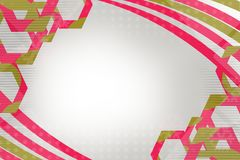 Pink hexagon and wave, abstract background Stock Image